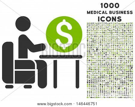 Banker Office vector bicolor icon with 1000 medical business icons. Set style is flat pictograms, eco green and gray colors, white background.