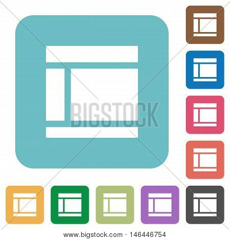 Flat Two columned web layout icons on rounded square color backgrounds.