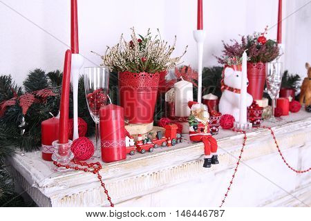 Christmas decoration of fireplace in the festive interior