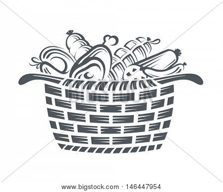 monochrome illustration of basket with various sausages and meat products