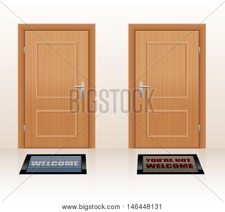 WELCOMING CULTURE - symbolically depicted with two doormats saying WELCOME and YOU'RE NOT WELCOME as a symbol for hospitality and rejection. Vector illustration.