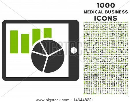 Charts on Pda vector bicolor icon with 1000 medical business icons. Set style is flat pictograms, eco green and gray colors, white background.