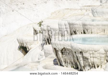 Pamukkale's terraces made of travertine a sedimentary rock deposited by water from the hot springs.
