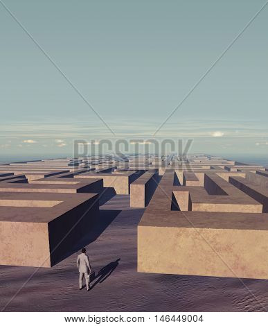 3d illustration of a businessman in front of a stone labyrinth