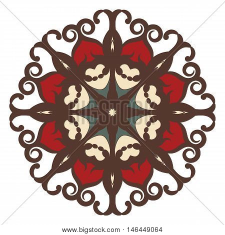 Mandala on isolated background. Graphic template for floral design, decorative element in arabic, indian style. Anti-stress therapy pattern. Yoga logo. Oriental snowflake.