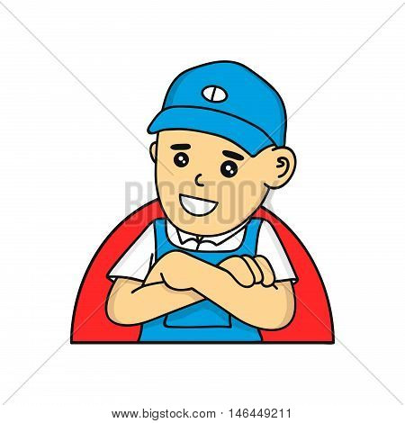 Mechanic or plumber cartoon vector character illustration