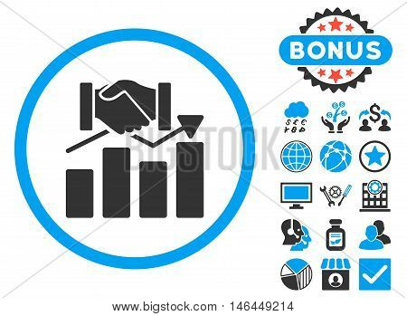 Acquisition Graph icon with bonus. Vector illustration style is flat iconic bicolor symbols, blue and gray colors, white background.