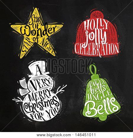 Christmas vintage silhouettes star snowman bell winter hat with greeting lettering star of wonder star of night holly jolly celebration a very merry christmas for you jingle bells jingle bells drawing with color chalk on chalkboard
