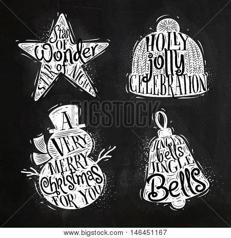 Christmas vintage silhouettes star snowman bell winter hat with greeting lettering star of wonder star of night holly jolly celebration a very merry christmas for you jingle bells jingle bells drawing with chalk on chalkboard