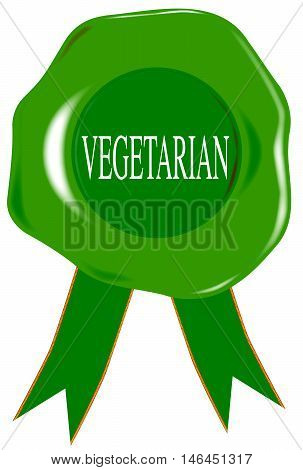 A green wax stamp with vegetarian as text over white