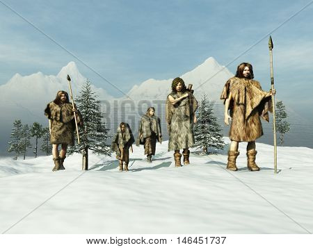 3d illustration of people of the Ice Age
