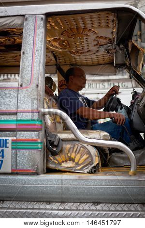 Driver At Filipino Jeepney, Close Up
