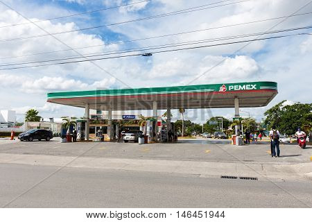 Pemex Gasoline Station At Downtown