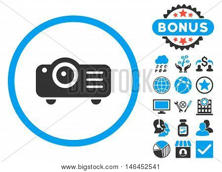 Projector icon with bonus. Glyph illustration style is flat iconic bicolor symbols, blue and gray colors, white background.