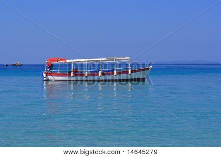 Fishing boat on the Ionian Sea in Greece