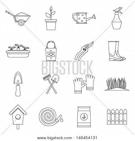 Gardening icons set in outline style. Garden tools set collection vector illustration