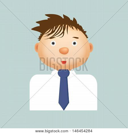 Young businessman in white shirt and blue tie on a blue background. Vector illustration