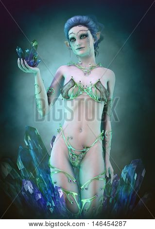 3d computer graphics of a little fairy with crystals