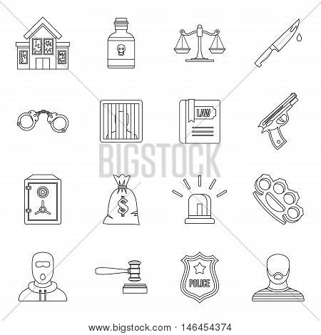 Crime and punishment icons set in outline style. Law and order set collection vector illustration
