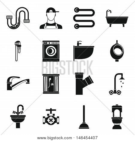 Plumbing icons set in simple style. Sanitary equipment set collection vector illustration