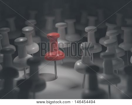 3D illustration. Featured red pin among others all white.