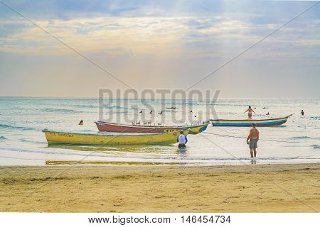 JERICOACOARA, BRAZIL, DECEMBER - 2015 - Small boats at the most famous beach of Jericoacoara in Brazil