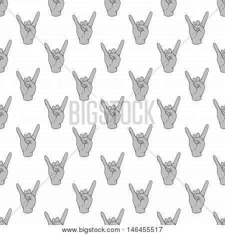 Gesture rock musician seamless pattern on white background. Gesticulate design vector illustration