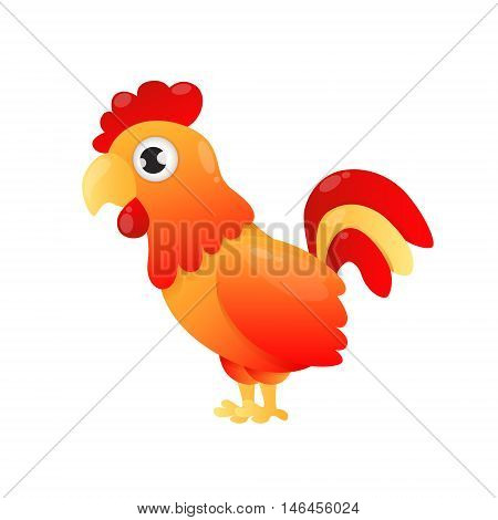 Red rooster. Fiery cock. Symbol of 2017 on the Chinese calendar. Vector illustration