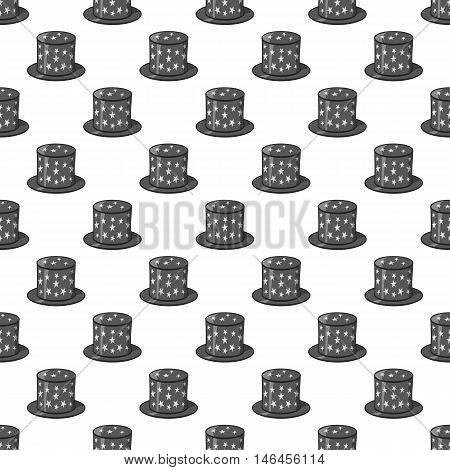 Hat of magician seamless pattern on white background. Tricks design vector illustration