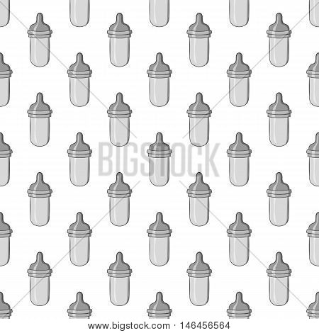 Bottle with nipple seamless pattern on white background. Child care design vector illustration
