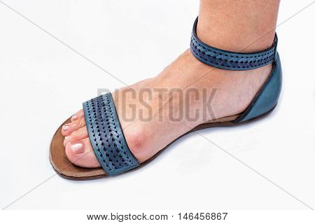 aged womans problem with bunions and footwear