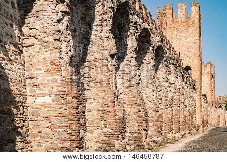 The walls surrounding the medieval village of Montagnana (Italy) viewed from inside of the town.