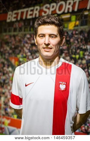 KRAKOW, POLAND - FEB 9, 2016: Robert Lewandowski (Polish professional footballer captains the Poland national team) wax figure of Polonia Wax Museum at Main Market Square.