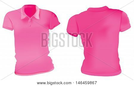 Vector illustration of blank pink female polo t-shirt template front and back design isolated on white