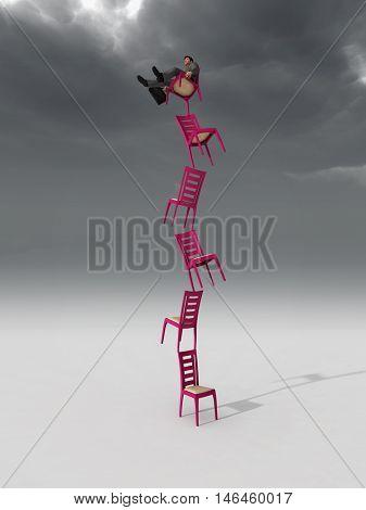 businessman balancing on a chair,  3d illustration
