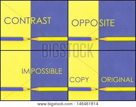 Photo Collage Of Contrast Concept Over Yellow And Violet Coloured Paper