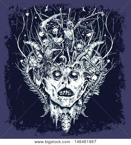 halloween demon vector illustration for T-shirt printed and poster