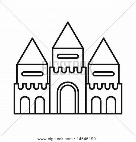 Fairy tale castle icon in outline style on a white background vector illustration
