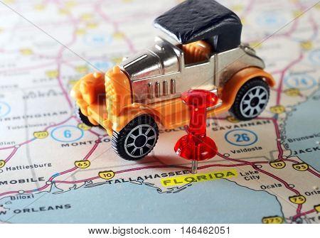 Florida Usa Map Retro Car