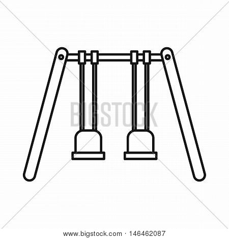 Playground swings icon in outline style on a white background vector illustration