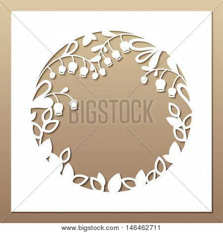 Openwork white frame with leaves and flowers. Laser cutting template for greeting cards envelopes wedding invitations interior decorative elements.
