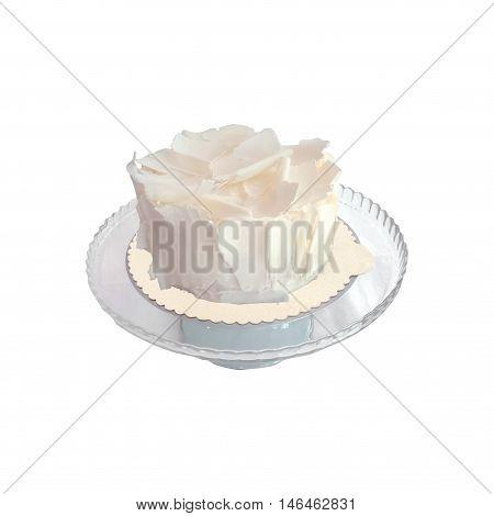 Delicious White Chocolate Cake On A White Background