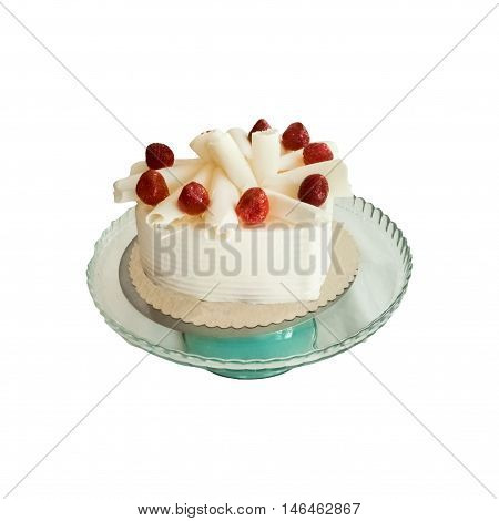 Delicious Strawberry Cake With White Choclate On A White Background