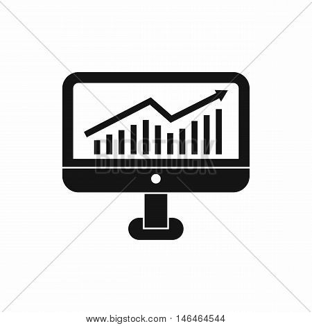 Growth graph on the computer monitor icon in simple style on a white background vector illustration