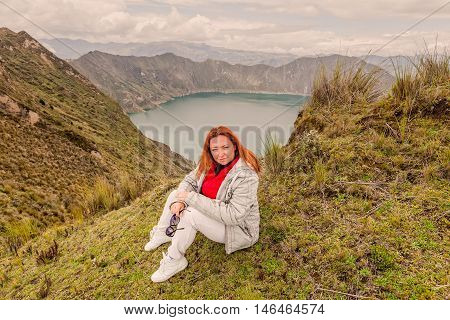 Smiling Blond Youth Woman Standing Near Crater Lake Quilotoa Ecuador South America