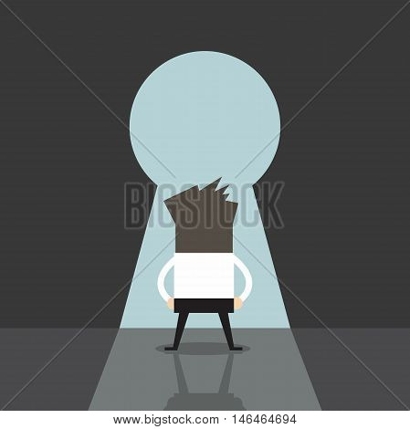 Man going to big keyhole and blue sky vector