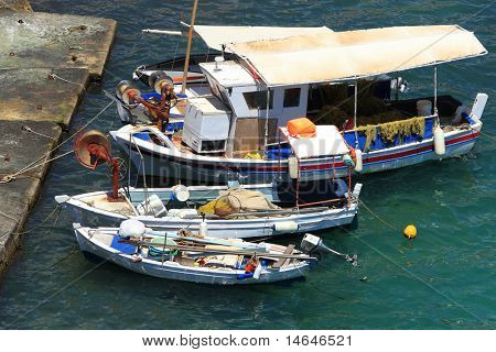 Fishing boats in the Ionian sea Greece