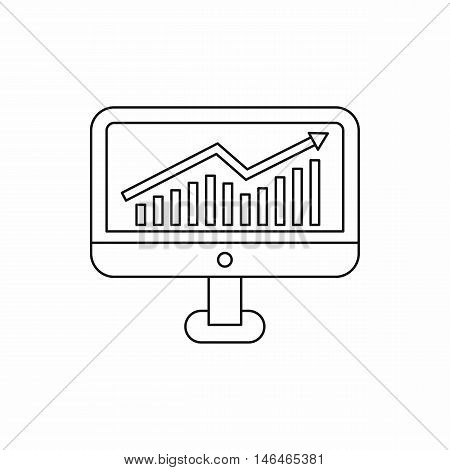 Growth graph on the computer monitor icon in outline style on a white background vector illustration