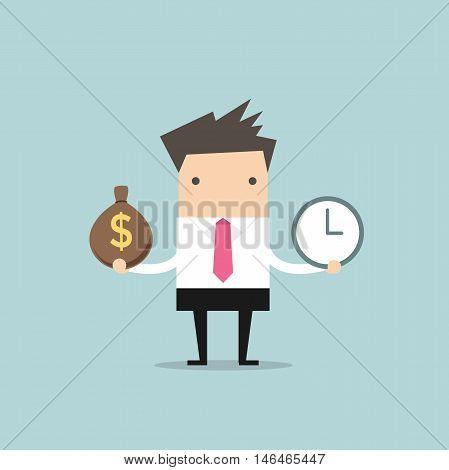 Businessman has money bag and clock. vector