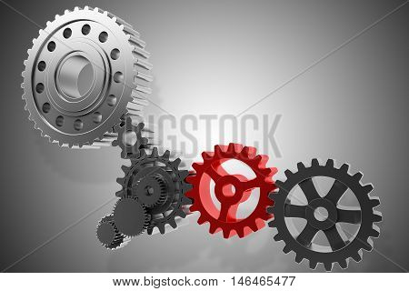 3D Rendering gear system mechanism rotate together